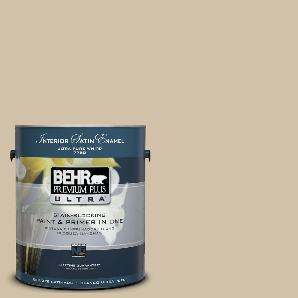 BEHR Premium Plus Ultra 1 gal. #UL160-17 Baja Satin Enamel Interior Paint and Primer in One