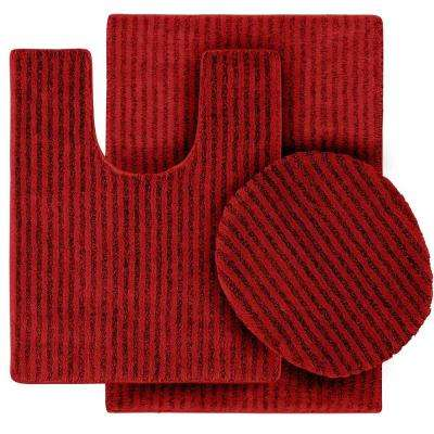 Sheridan Chili Pepper Red 21 in. x 34 in. Washable Bathroom 3-Piece Rug Set