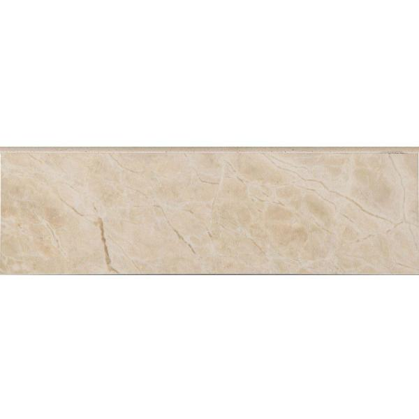 Favrales Beige 3 in. x 10 in. Ceramic Wall Bullnose Tile (3.89 sq. ft./Case)
