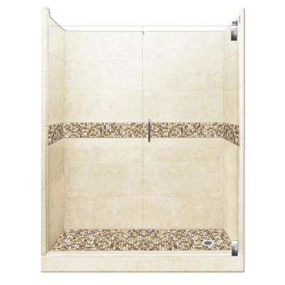 Roma Grand Hinged 42 in. x 60 in. x 80 in. Right Drain Alcove Shower Kit in Desert Sand and Chrome Hardware