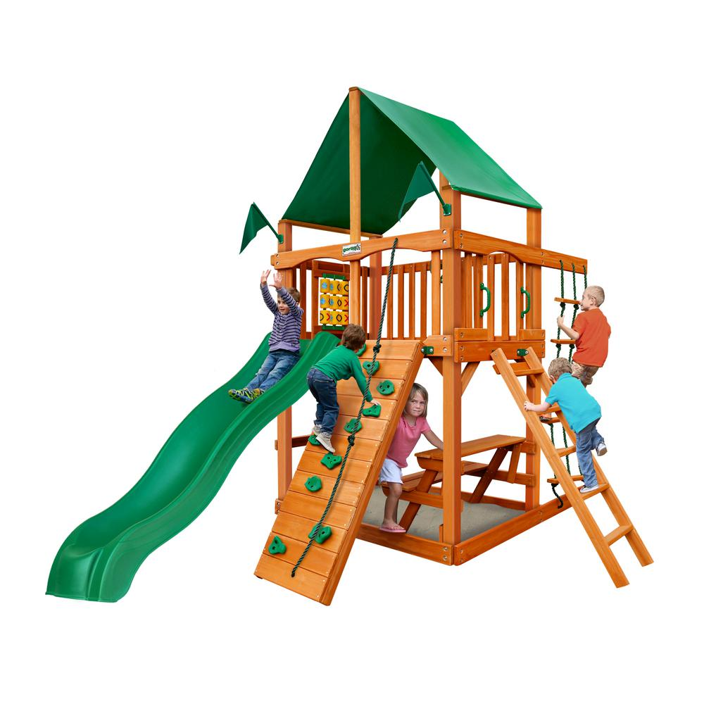 Chateau Tower Cedar Playset with Green Vinyl Canopy and Natural Cedar