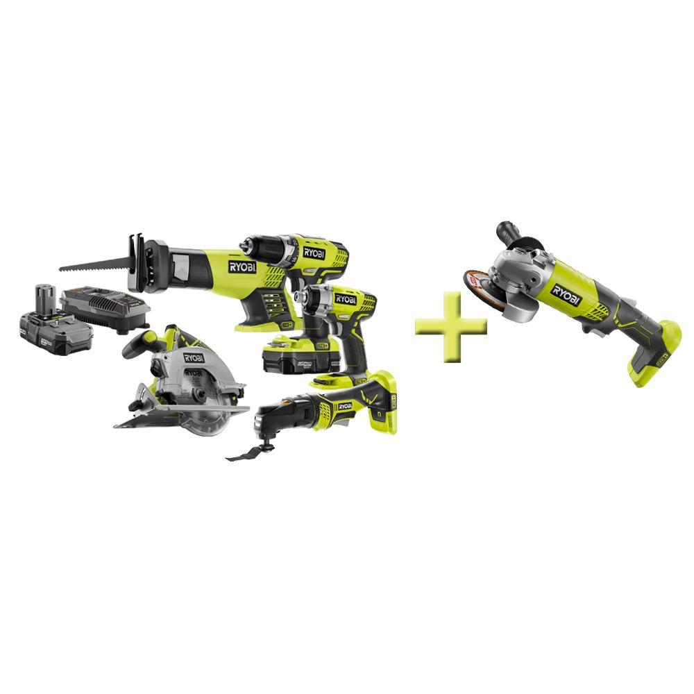 Ryobi 18-Volt ONE+ Lithium-Ion Combo Kit with Free 4.5 in. Angle Grinder