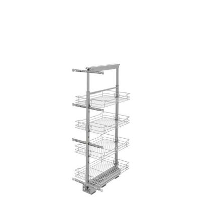 Hampton Bay Ready to Assemble Denver Shaker 14.75 in. x 50.25 in. x 20 in. Metal Pantry Pullout Unit in Steel, Silver...