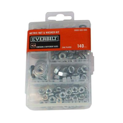 59-Piece Zinc-Plated Metric Nut and Washer Kit