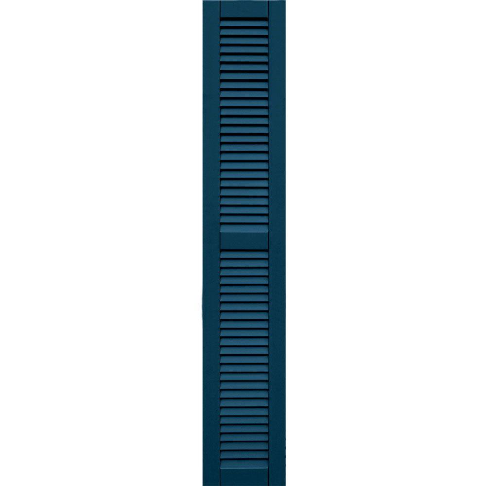 Winworks Wood Composite 12 in. x 70 in. Louvered Shutters Pair #637 Deep Sea Blue