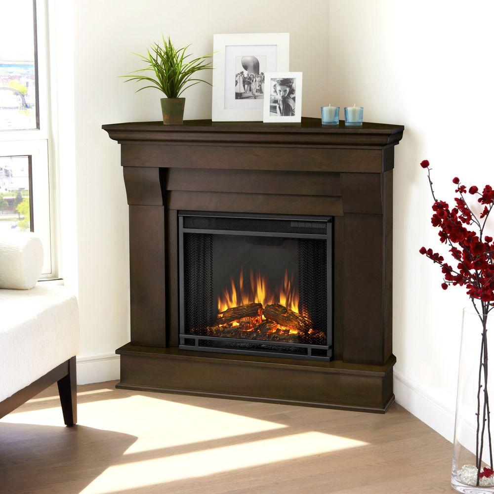 Corner electric fireplace in dark walnut