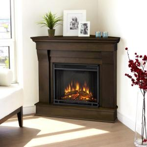 Real Flame Chateau 41 inch Corner Electric Fireplace in Dark Walnut by Real Flame