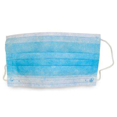 Blue Disposable Pleated Mask with Ear Loops (500-Count)