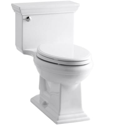 Memoris Stately 1-Piece 1.28 GPF Single Flush Elongated Toilet with AquaPiston Flush Technology in White, Seat Included