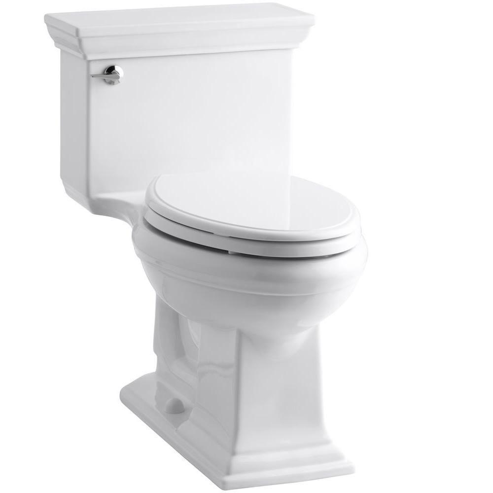 Memoris Stately 1-Piece 1.28 GPF Single Flush Elongated Toilet with AquaPiston Flush Technology in White, Seat Included
