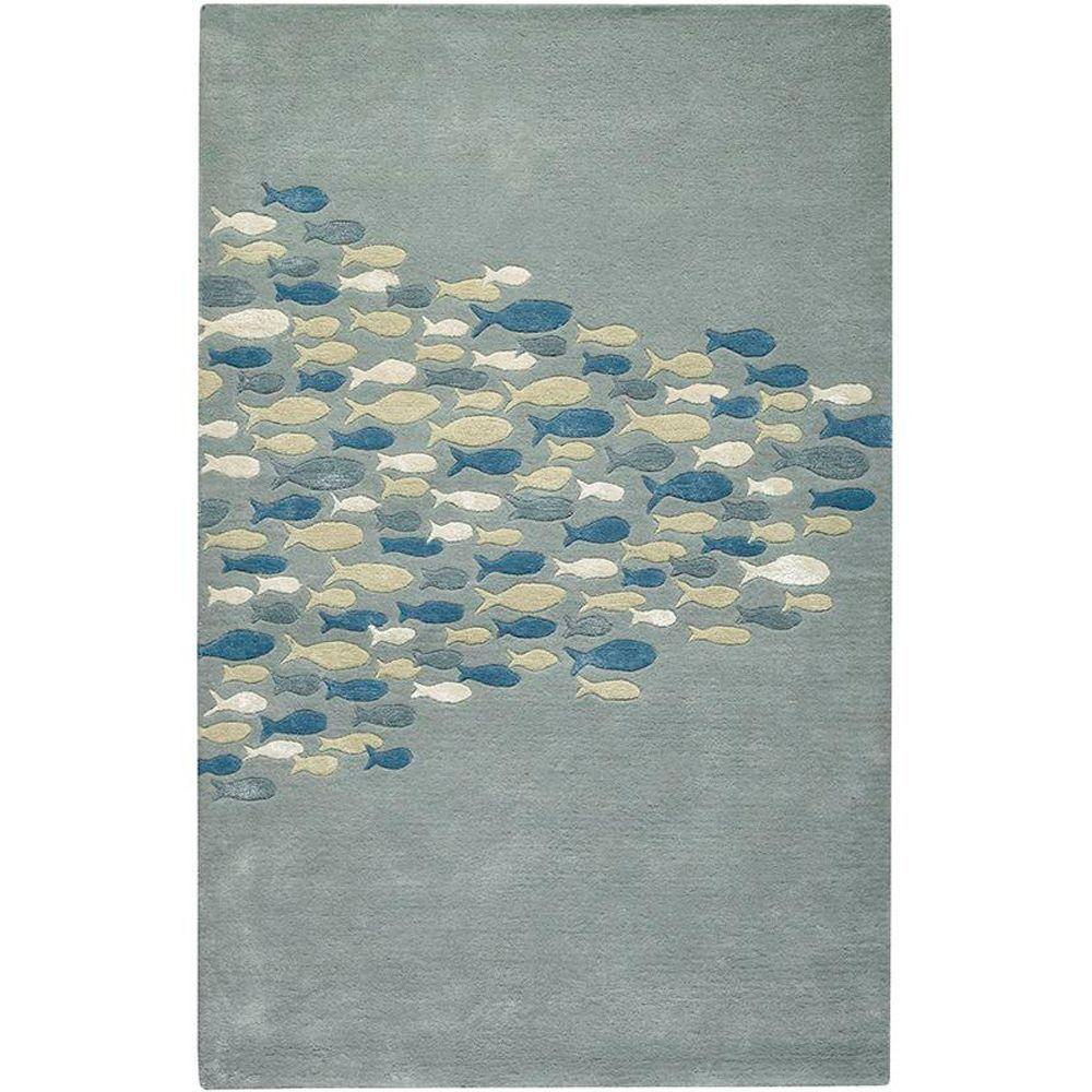 Home Decorators Collection School Pastel Blue 9 ft. 6 in. x 13 ft. 6 in. Area Rug