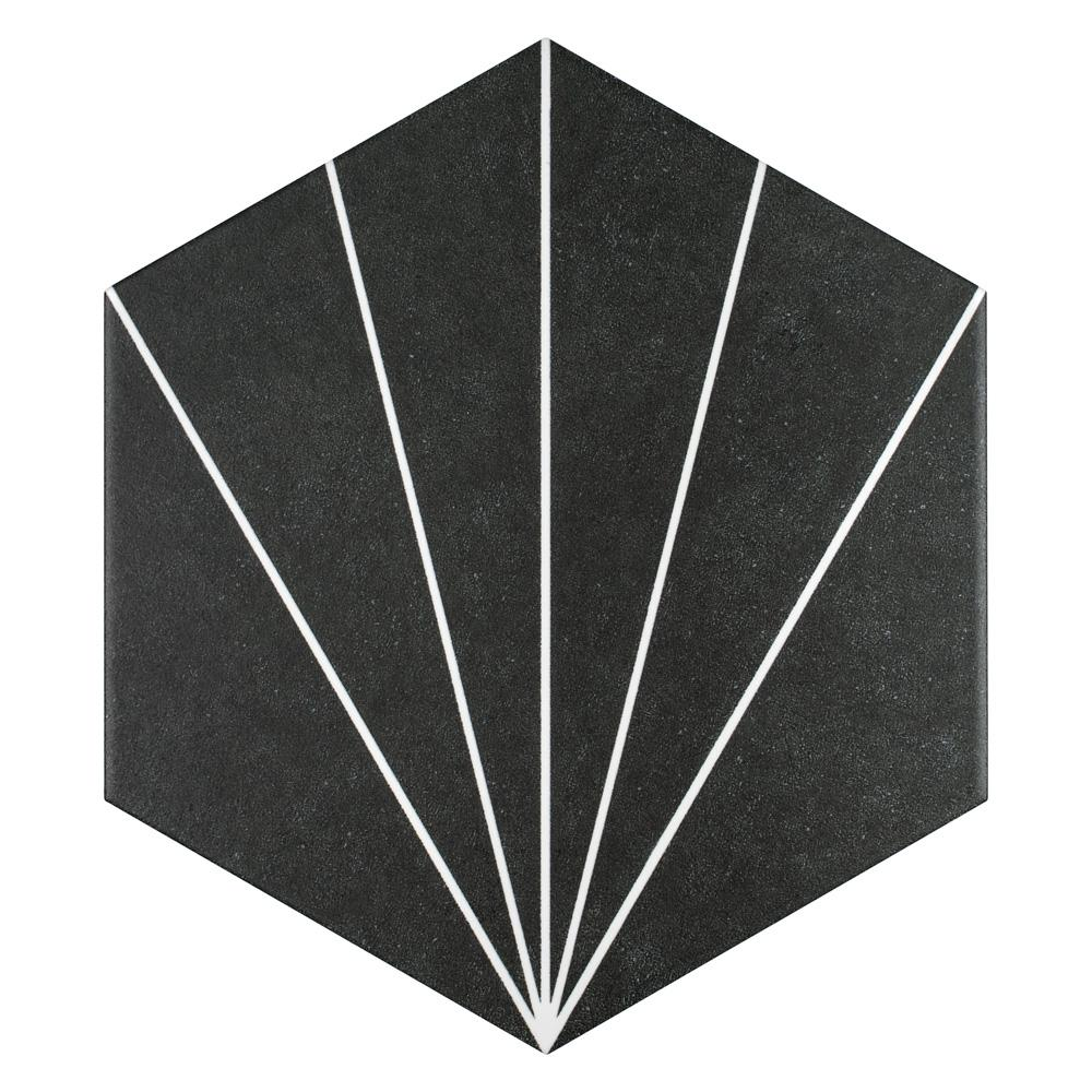 Merola Tile Aster Hex Nero Encaustic 8-5/8 in. x 9-7/8 in. Porcelain Floor and Wall Tile (11.56 sq. ft. / case)