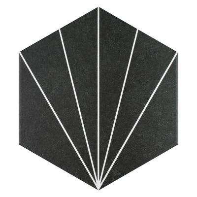 Aster Hex Nero Encaustic 8-5/8 in. x 9-7/8 in. Porcelain Floor and Wall Tile (11.19 sq. ft. / case)