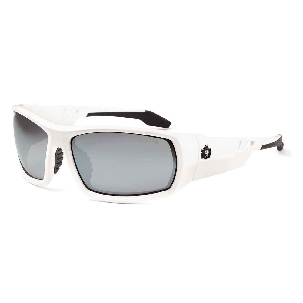 Skullerz Odin White Safety Glasses, Mirrored Lens - ANSI Certified
