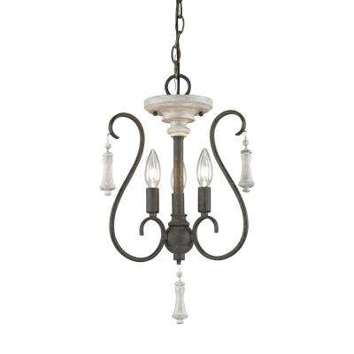 Porto Cristo 3-Light Small Palermo Rust with Birch Accents Chandelier