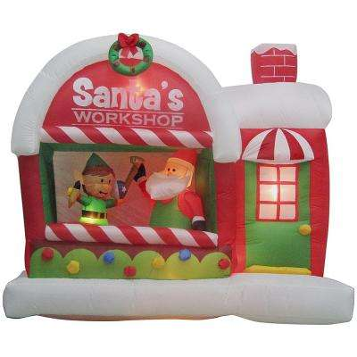 7 ft. Inflatable Lighted Airblown Santa's Workshop Scene