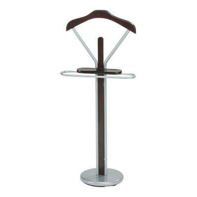 19 in. x 43 in. Chrome/Walnut Metal/Wood Valet Stand