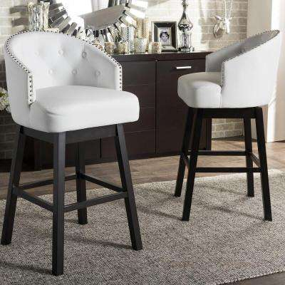 Baxton Studio Avril White Faux Leather Upholstered 2-Piece Bar Stool Set by Baxton Studio