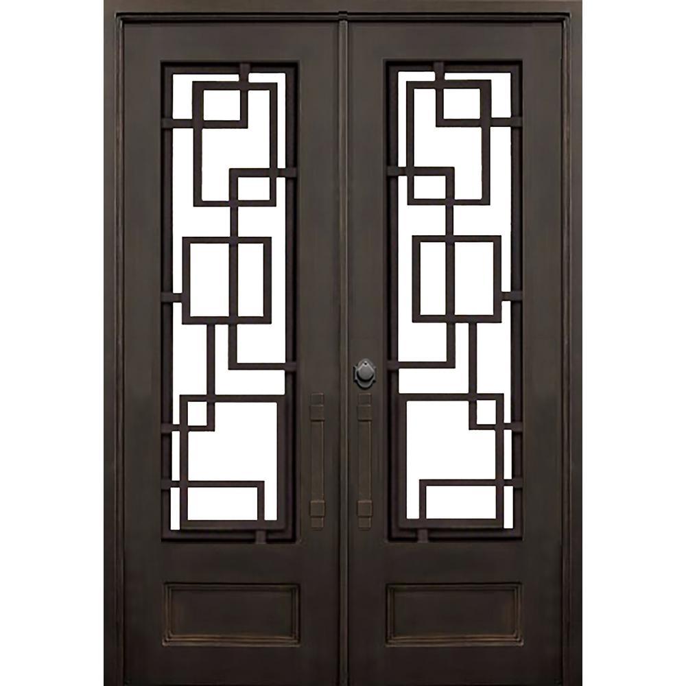 74 in. x 97.5 in. Flat Top St. Andrews Dark Bronze Full Lite Painted Wrought Iron Prehung Front Door (Hardware Included)