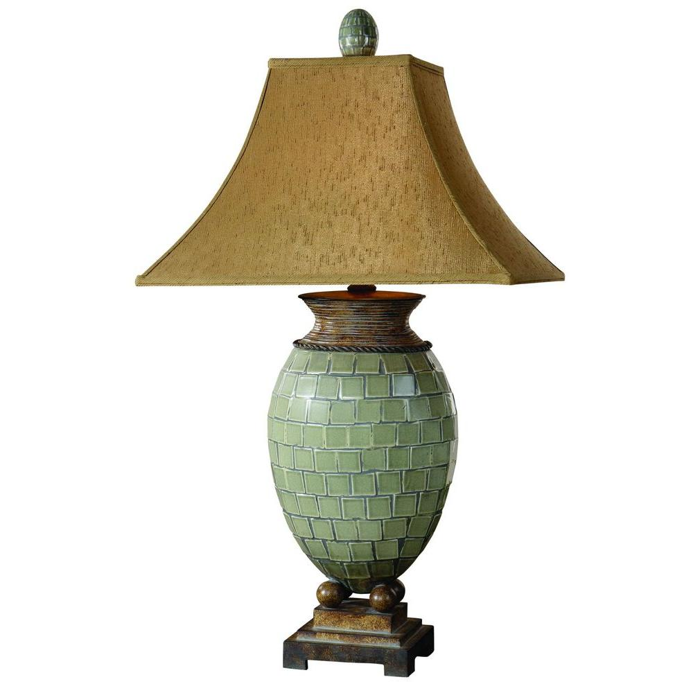 Global Direct 37 in. Blue Green Mosaic Table Lamp