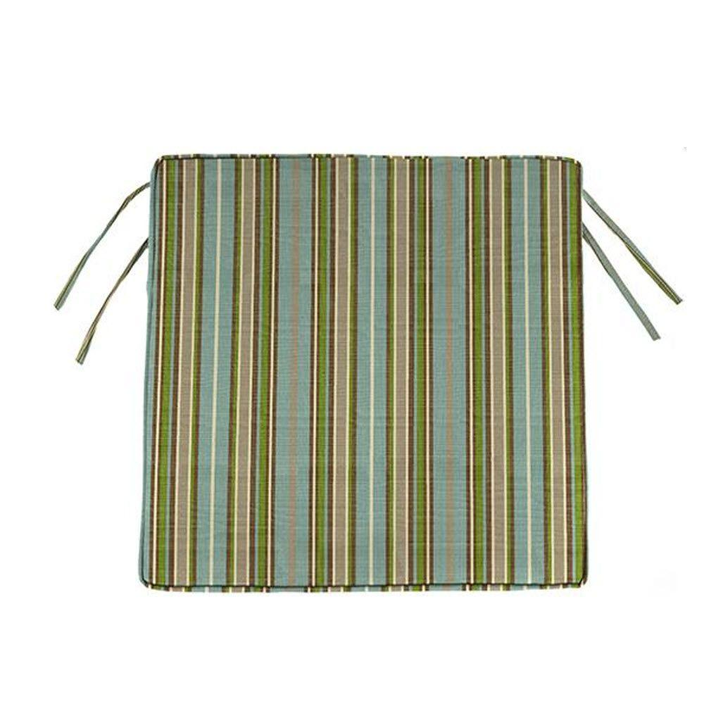 Home Decorators Collection Sunbrella Cilantro Stripe Square Outdoor Seat Cushion