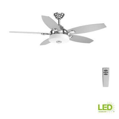 Graceful Collection 54 in. LED Indoor Polished Chrome Modern Ceiling Fan with Light Kit and Remote
