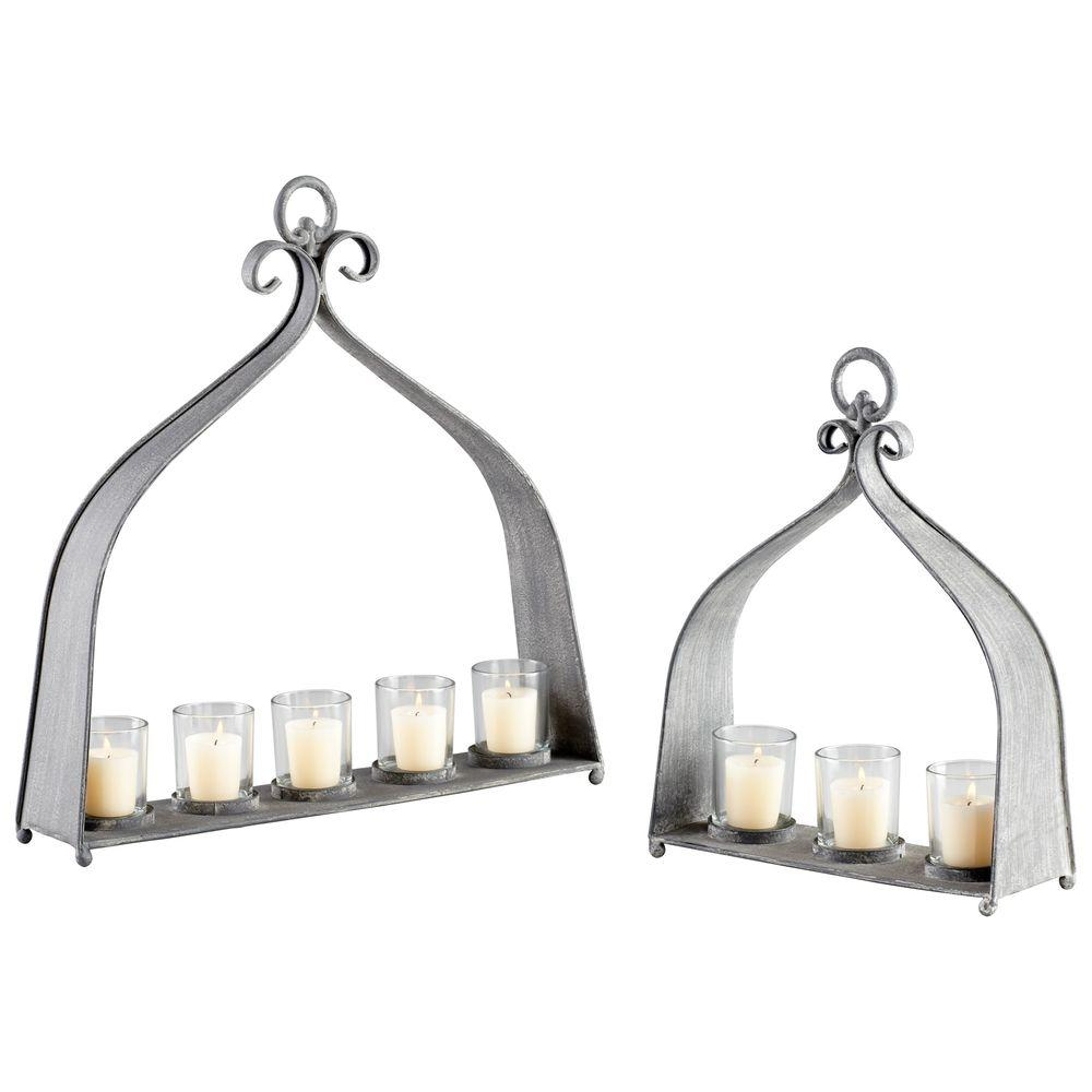 Filament Design Prospect 15 in. Rustic Gray Candle Holder