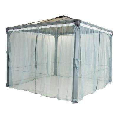 Palermo and Milano Garden Gazebo Netting 4-Piece Set Gray