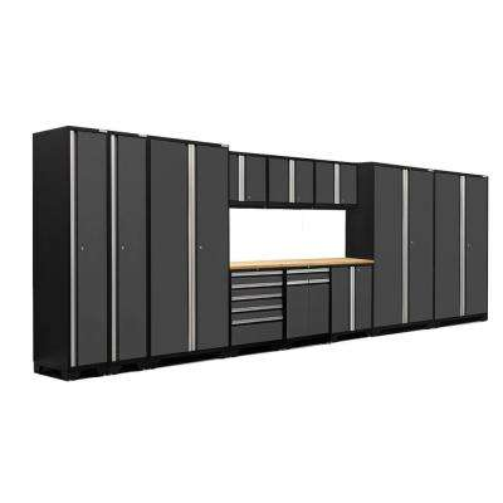 Pro 3.0 83.25 in. H x 192 in. W x 24 in. D 18-Gauge Welded Steel Bamboo Worktop Cabinet Set in Gray (12-Piece)