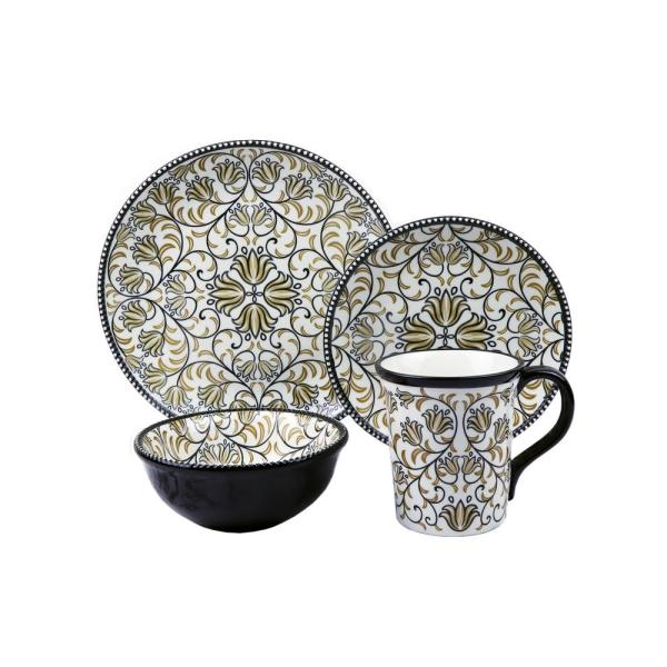 Bimini Collection 16-Piece Black and Brown Beaded Stoneware Set