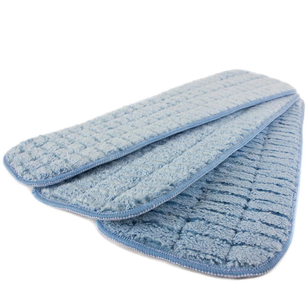 18 in. Blue Microfiber Wet Mop Scrubbing Pad (3-Pack)