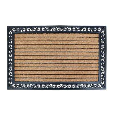 A1HC First Impression Molded Large Double Door 30 in. x 48 in. Rubber and Coir Door Mat