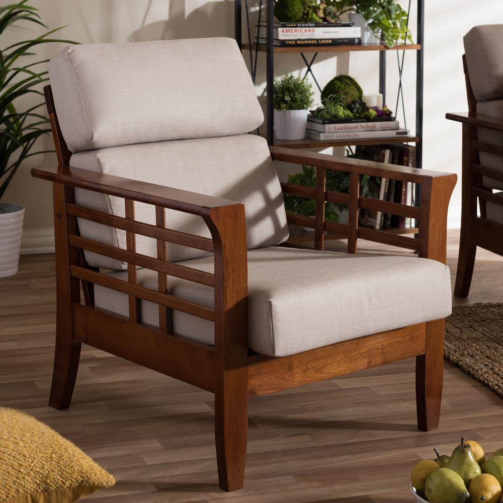 larissa taupe fabric upholstered accent chair