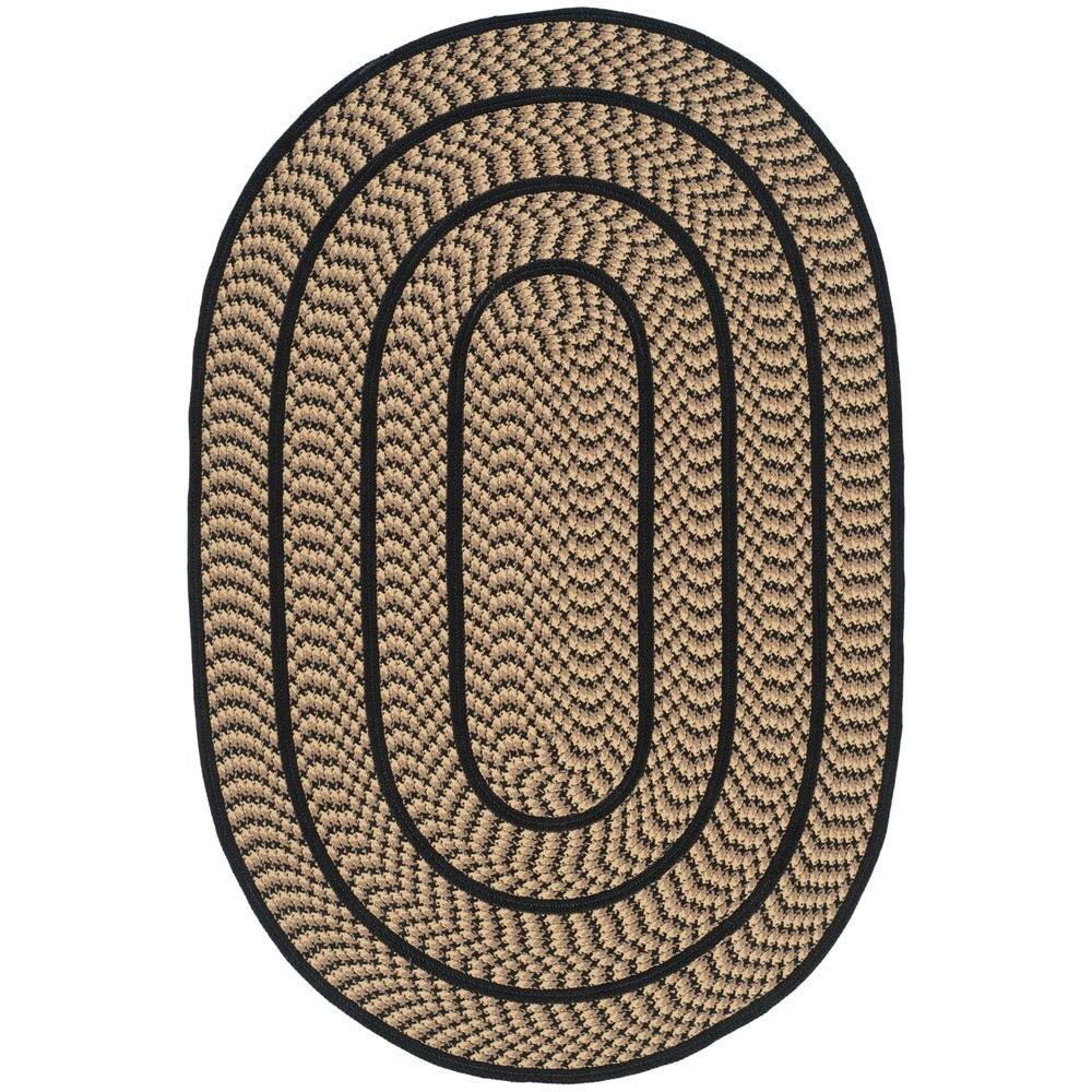 Braided Beige Black 4 Ft X 6 Oval Area Rug