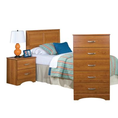 Three Piece Bedroom set finished in warm Tanner Cherry with Twin Headboard, Five Drawer Chest, and Night Stand.