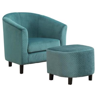 Turquoise Quilted Fabric 2 Piece Accent Chair