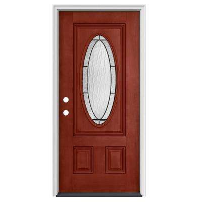 36 in. x 80 in. 3/4 Oval Lite Wendover Black Cherry Stained Fiberglass Prehung Right-Hand Inswing Front Door