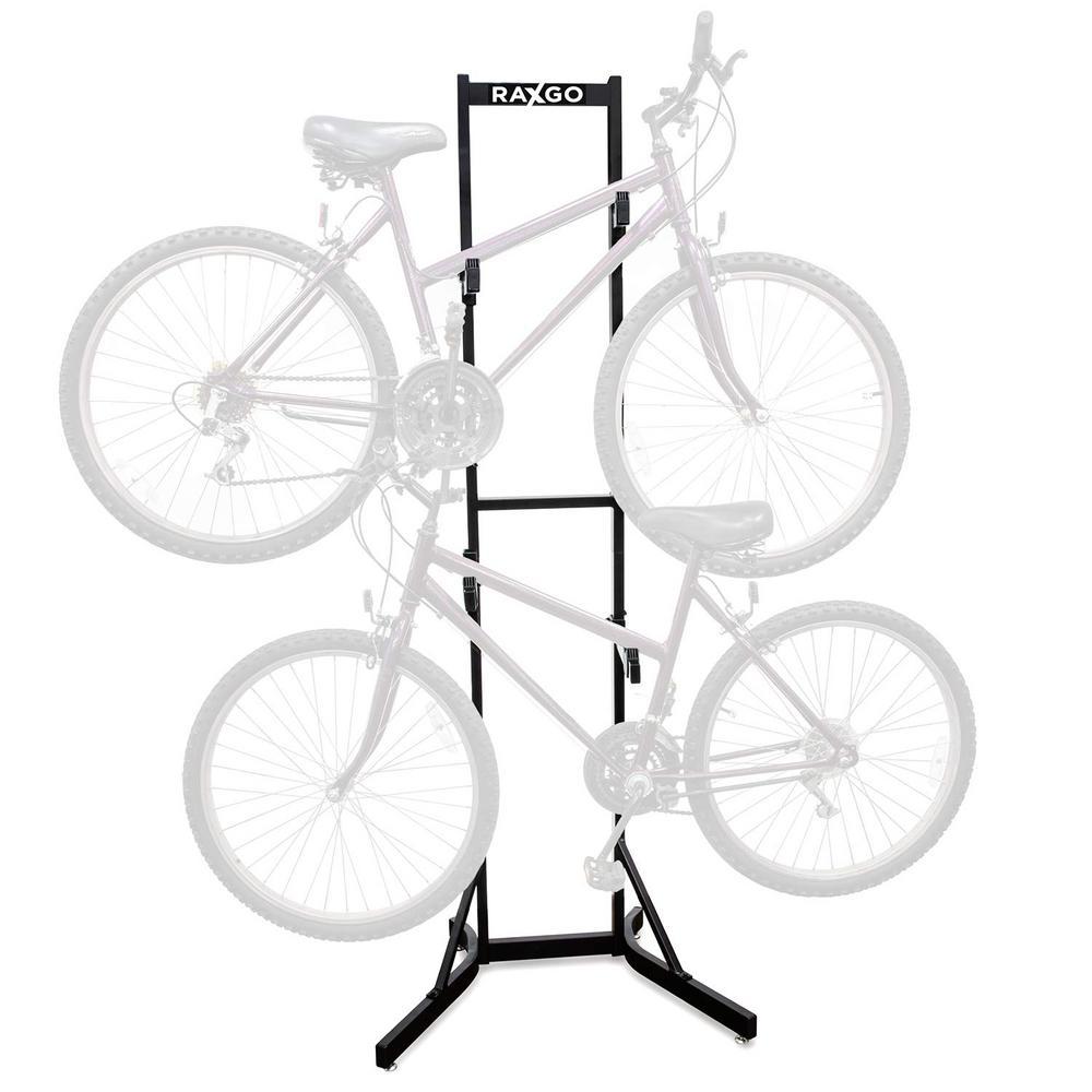 Free Standing Vertical Storage Steel 2-Bike Rack
