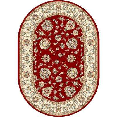 Judith Red/Ivory 7 ft. x 10 ft. Indoor Oval Area Rug