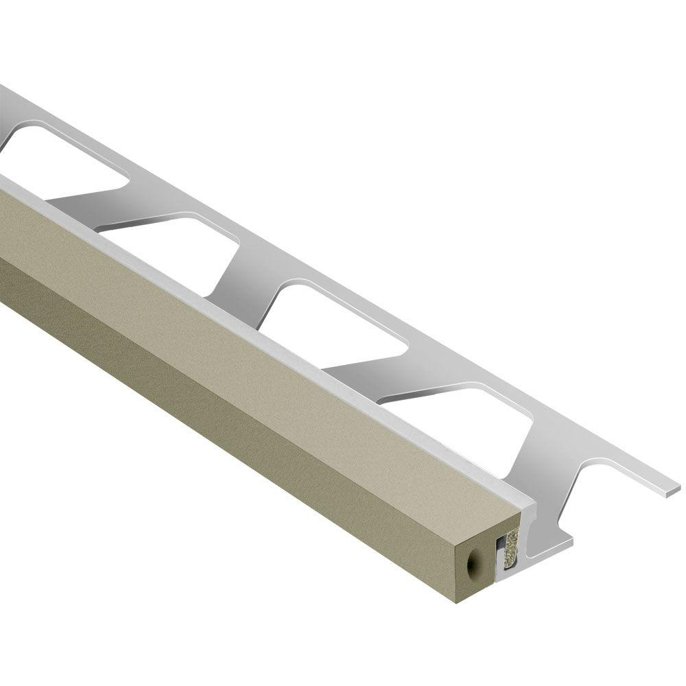 Schluter Dilex-KSA Aluminum with Grey Insert 3/8 in. x 8 ft. 2-1/2 in. Rubber and Metal Movement Joint Tile Edging Trim