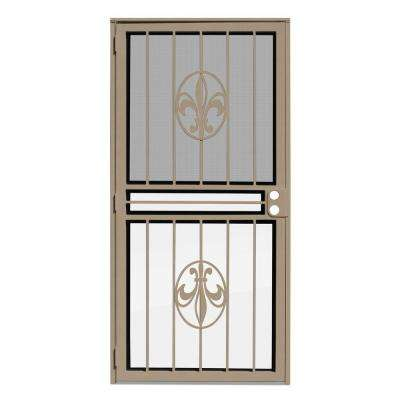 36 in. x 80 in. Fleur de Lis Tan Recessed Mount All Season Security Door with Insect Screen and Glass Inserts
