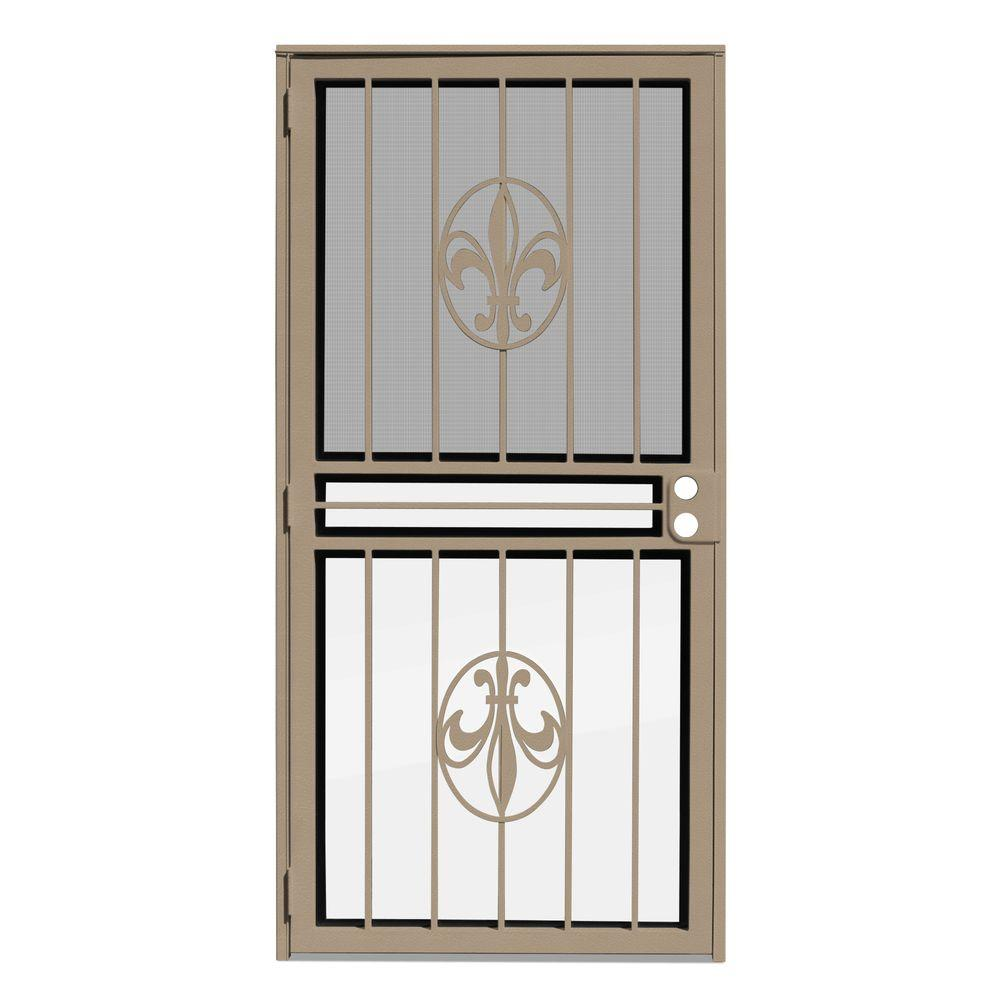 Unique Home Designs 34 in. x 80 in. Fleur de Lis Tan Recessed Mount All Season Security Door with Insect Screen and Glass Inserts