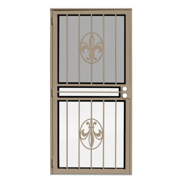 30 in. x 80 in. Fleur de Lis Tan Recessed Mount All Season Security Door with Insect Screen and Glass Inserts