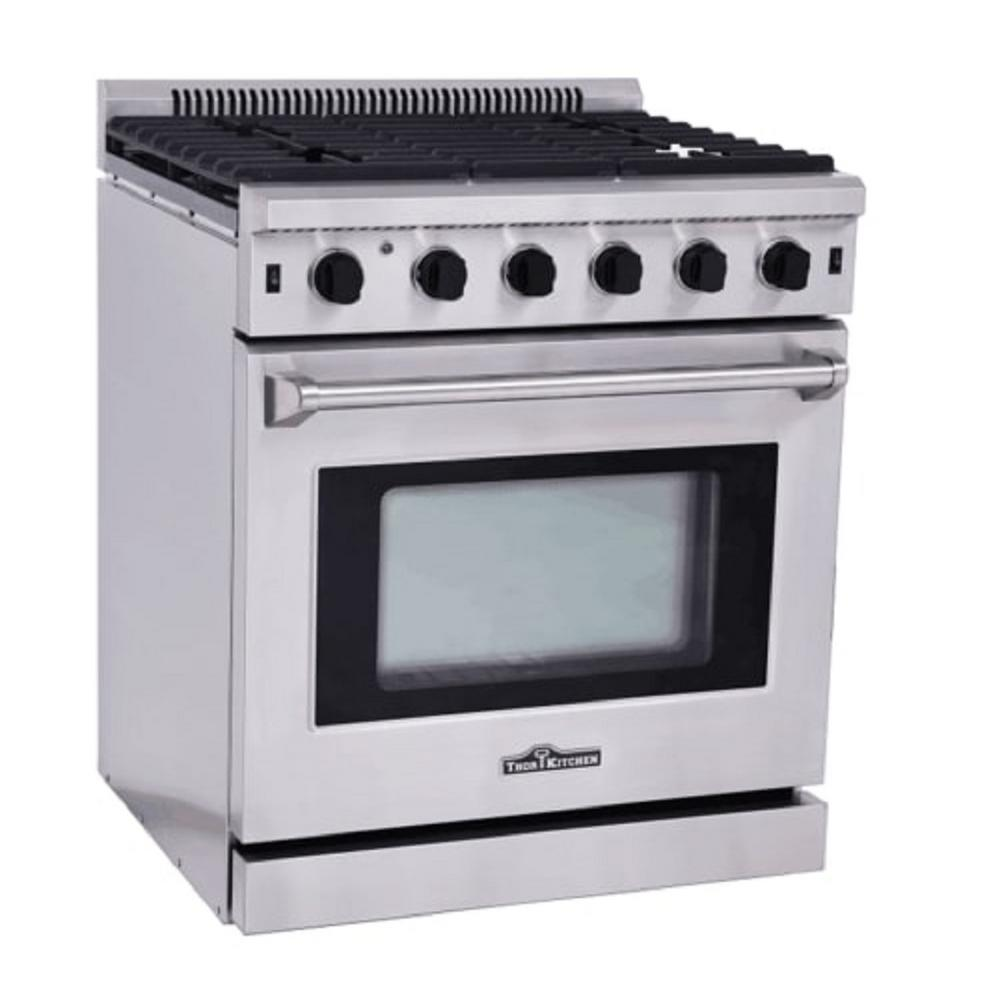 Thor Kitchen 30 In. 4.55 Cu. Ft. Professional Gas Range In Stainless  Steel LRG3001U   The Home Depot