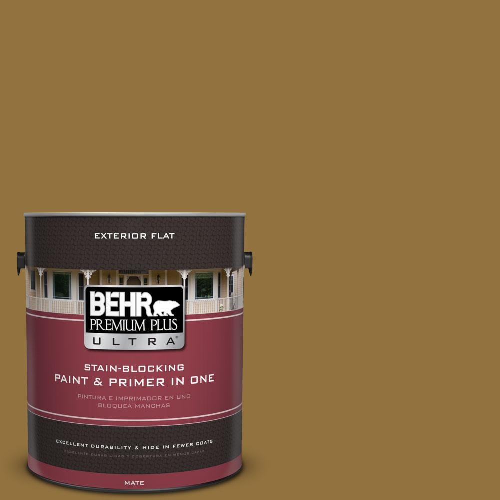 BEHR Premium Plus Ultra 1-gal. #350D-7 Cattail Brown Flat Exterior Paint