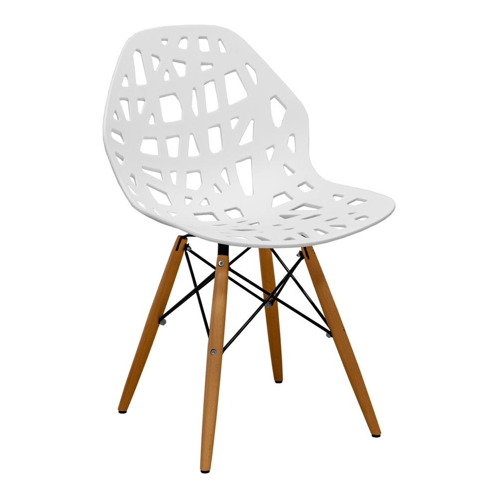 Stencil Cut Out Eiffel White Dining Side Chair Set Of 2
