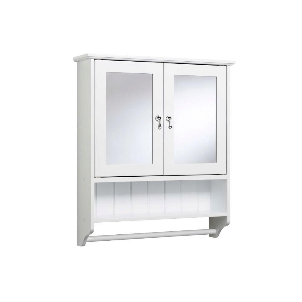 Croydex 24-7/8 in. W Ribble Double Door Cabinet with Towel Rail in White-DISCONTINUED