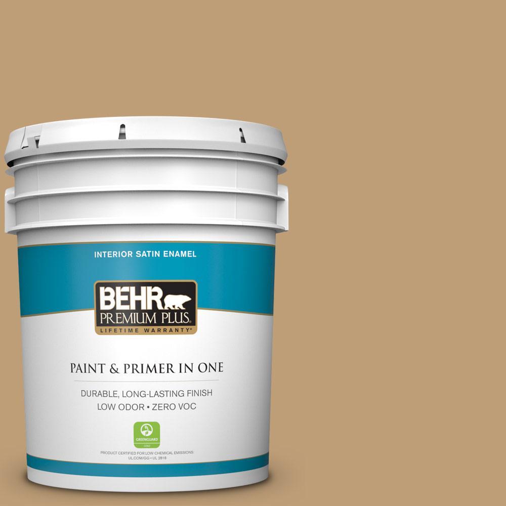 5 gal. #300F-4 Almond Toast Satin Enamel Zero VOC Interior Paint
