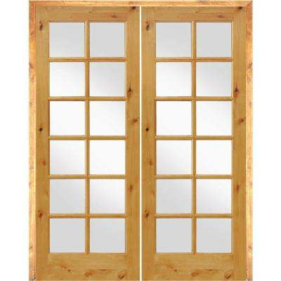 64 in. x 96 in. Rustic Knotty Alder 12-Lite Low E Glass Left Handed MDF Solid Core Wood Double Prehung Interior Door