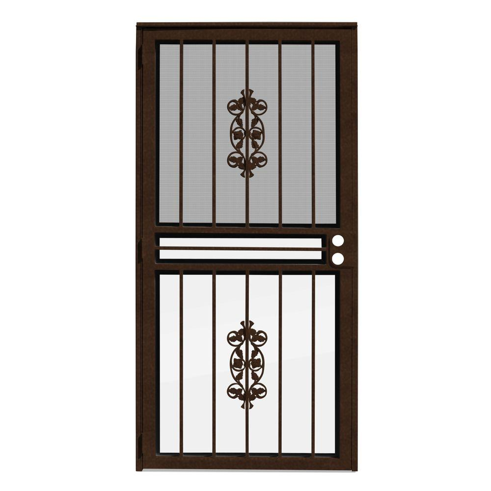 Unique Home Designs 36 in. x 80 in. Rambling Rose Copperclad Recessed Mount All Season Security Door with Insect Screen and Glass Inserts
